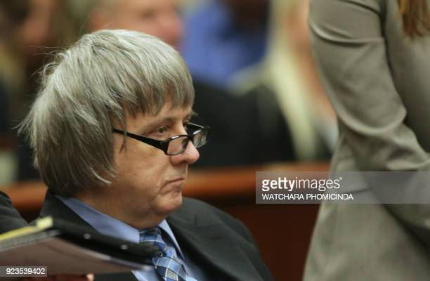 David Turpin and his wife Louise the parents who allegedly held their 13 children captive appear in court on February 23 2018 in Riverside California...