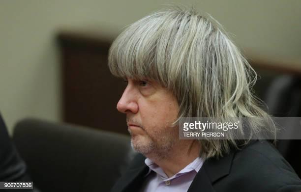 David Turpin appears at his court arraignment with wife Louise in Riverside California on January 18 2018 The California couple who held their 13...