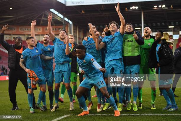David Tutonda of Barnet leads the celebrations following his sides 10 victory during the FA Cup Third Round match between Sheffield United and Barnet...