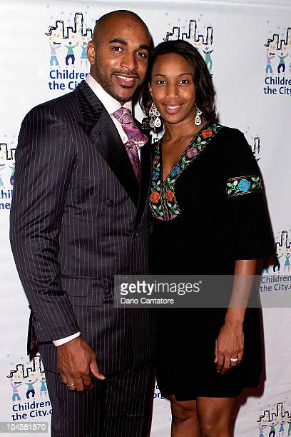 David Tyree and Leilah Tyree attend the 2010 Children of the City benefit gala at Pier Sixty at Chelsea Piers on September 30 2010 in New York City