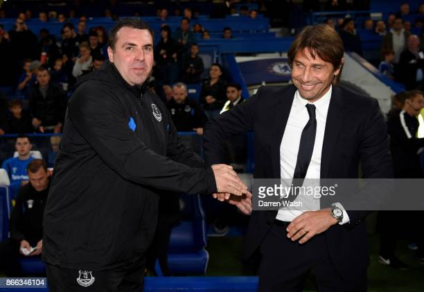 David Unsworth Caretaker Manager of Everton and Antonio Conte Manager of Chelsea greet each other prior to the Carabao Cup Fourth Round match between...