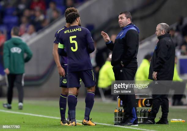 David Unsworth Caretaker Manager of Everton gives his team instructions during the UEFA Europa League group E match between Olympique Lyon and...