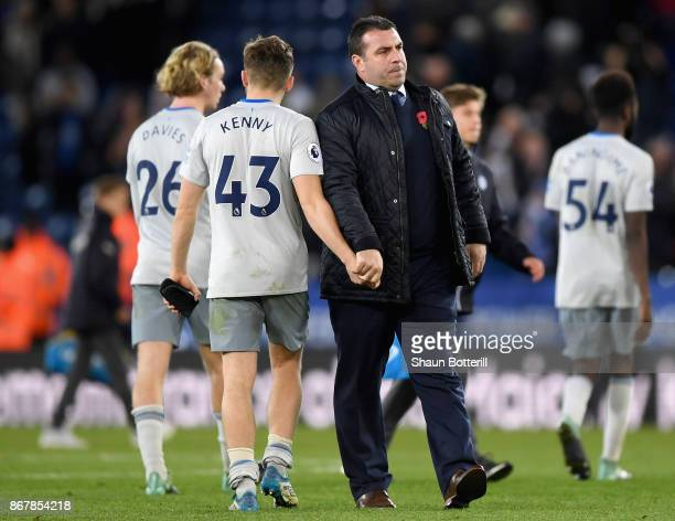 David Unsworth Caretaker Manager of Everton shakes hands with Jonjoe Kenny of Everton in defeat after the Premier League match between Leicester City...
