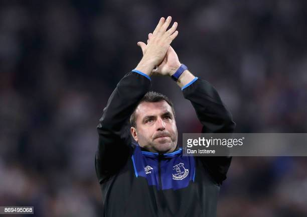 David Unsworth Caretaker Manager of Everton shows appreciation to the fans after the UEFA Europa League group E match between Olympique Lyon and...