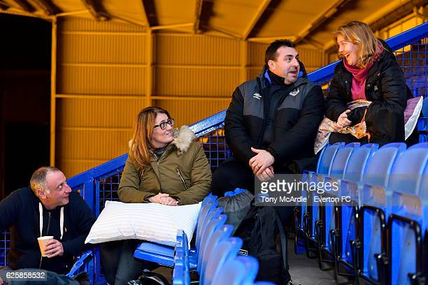 David Unsworth chats to participants of the Everton in the Community Sleepover Event at Goodison Park on November 25 2016 in Liverpool England