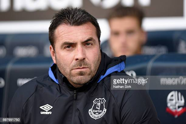 David Unsworth coach of Everton looks on during the Checkatrade Trophy group match between Bolton Wanderers and Everton under23s at Macron Stadium on...