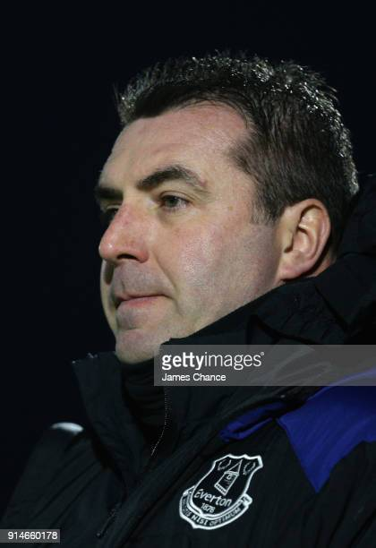David Unsworth Manager of Everton U23 looks on during the Premier League 2 match between Arsenal and Everton at Meadow Park on February 5 2018 in...