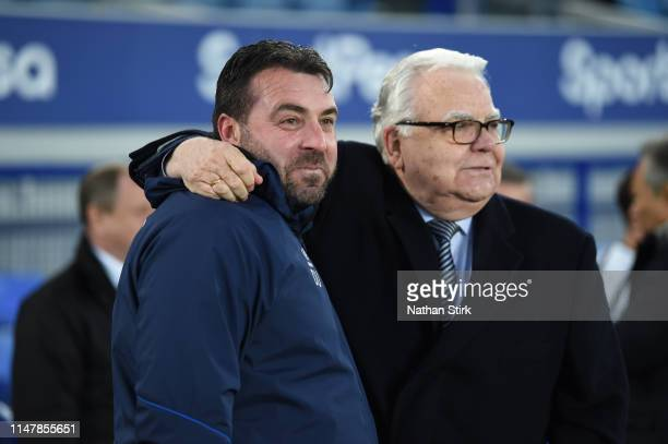 David Unsworth manager of Everton u23s is hugged by Chairman Bill Kenwright after the Premier League Cup Final match between Everton and Newcastle...