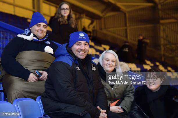 David Unsworth meets Everton fans as they take part in the Goodison Sleepout at Goodison Park on November 10 2017 in Liverpool England