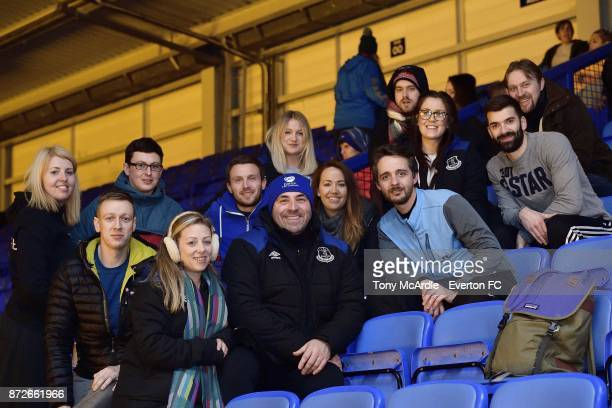 David Unsworth meets Everton participants as they take part in the Goodison Sleepout at Goodison Park on November 10 2017 in Liverpool England