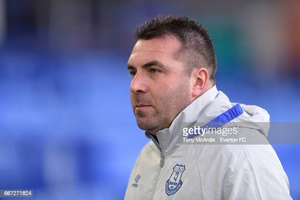 David Unsworth of Everton during the Premier League 2 match between Everton U23 and Tottenham Hotspur U23 at Goodison Park on April 10 2017 in...