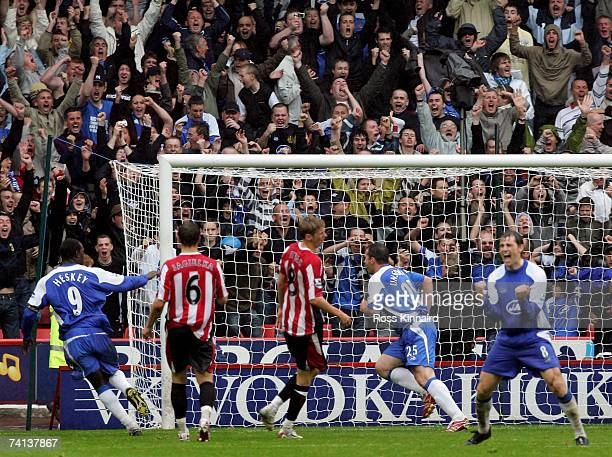 David Unsworth of Wigan celebrates scoring a penalty during the Barclays Premiership match between Sheffield United and Wigan Athletic at Bramall...