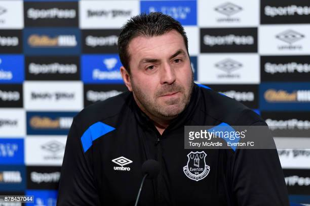 David Unsworth speaks to the press during the Everton press conference at USM Finch Farm on November 24 2017 in Halewood England