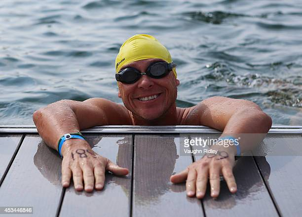 David Uprichard of the US competes in the Men's 4549 Age Group 3km swim during the 15th FINA World Masters Championships at Parc JeanDrapeau on...