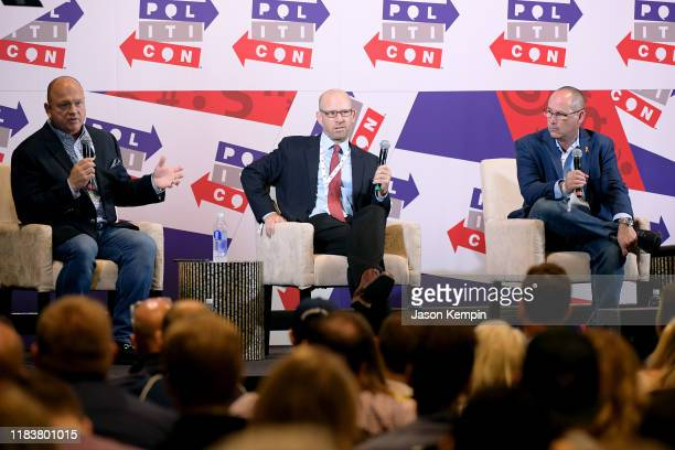 David Urban Jonathan Metzl and Fred Guttenberg speak onstage during day 2 of Politicon 2019 at Music City Center on October 27 2019 in Nashville...
