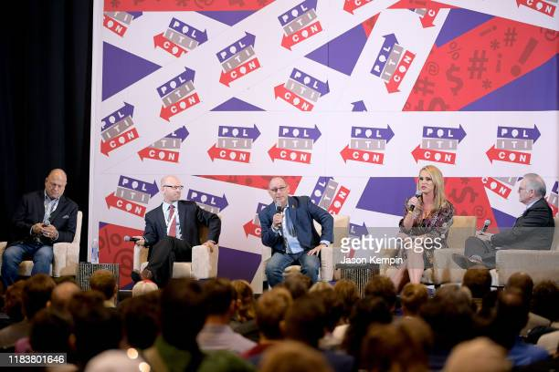 David Urban Jonathan Metzl Fred Guttenberg Scottie Nell Hughes and Rick Ungar speak onstage during day 2 of Politicon 2019 at Music City Center on...