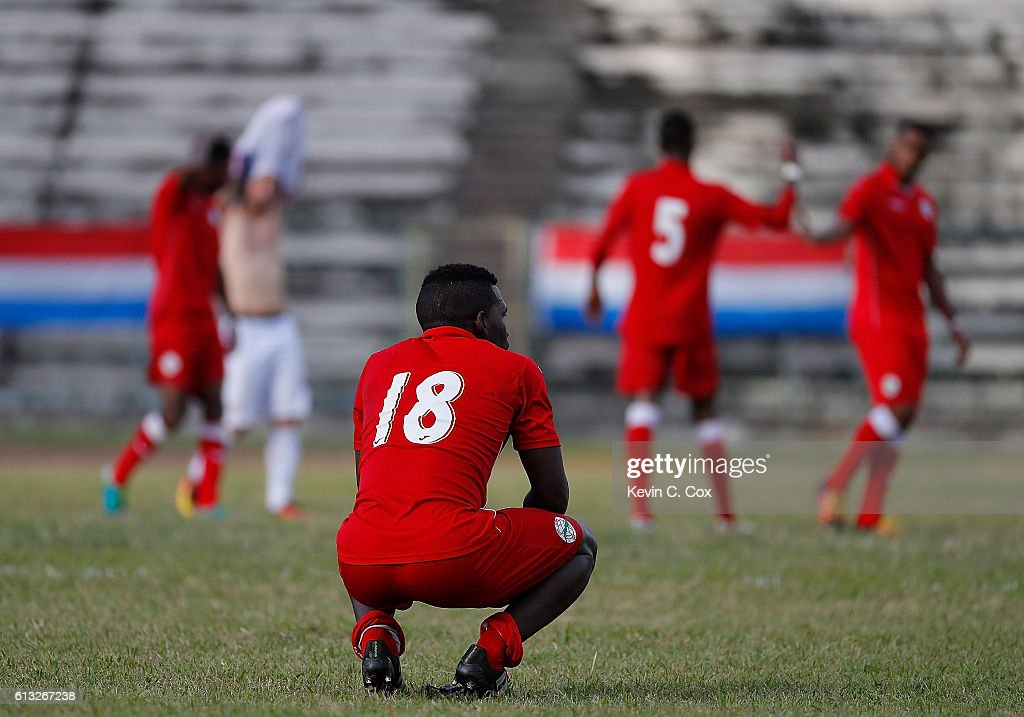 David Urgelles Soler #18 of Cuba reacts after their 2-0 loss to the United States at Estadio Pedro Marrero on October 7, 2016 in Havana, Cuba.