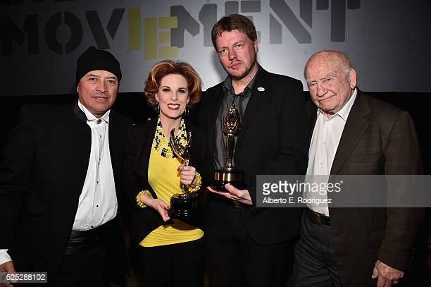 """David Valentino, actress Kat Kramer, director Michael von Hohenberg and actor Ed Asner attend the Atomic Age Cinema Fest Premiere of """"The Man Who..."""