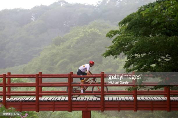 David Valero Serrano of Team Spain crosses a bridge on the circuit during the Men's Cross-country race on day three of the Tokyo 2020 Olympic Games...