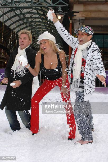 David Van Day Nicola McLean and Timmy Mallett launch snowball fight sponsored by Yahoo in Covent Garden on December 18 2008 in London England