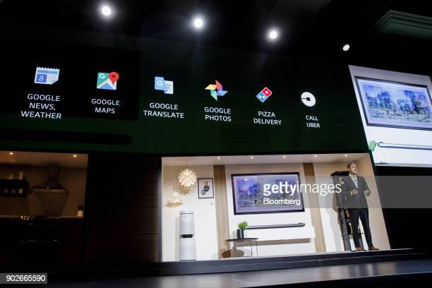 David VanderWaal vice president of marketing for LG Electronics USA uses Google Assistant on an LG W8 OLED television during the company's press...