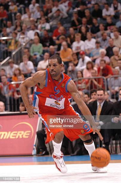 David Vanterpool of CSKA Moscow on the drive during the NBA Europe Live Tour presented by EA Sports on October 10 2006 at the Koeln Arena in Cologne...
