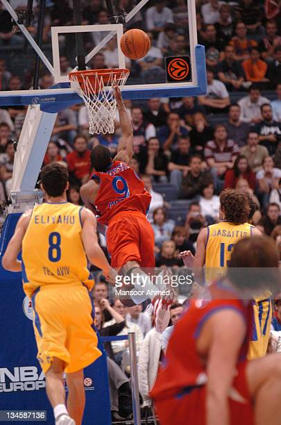 David Vanterpool splits the Macabbi defense on the way to the basket during the NBA Europe Live Tour presented by EA Sports on October 10 2006 at the...