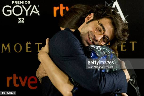 David Vardaguer and Barbara Lenie attend to the 'Candidates to Goya Cinema Awards 2017' press conference at Academia de Cine on December 13 2017 in...