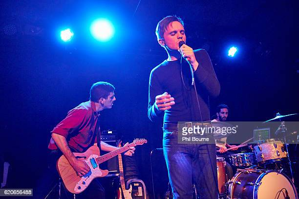 David Vassalotti Carson Cox and Leo Suarez of Merchandise perform at The Lexington on November 2 2016 in London England