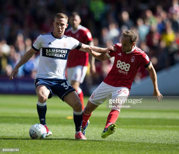 David Vaughan of Nottingham Forest and Adam Forshaw of Middlesbrough during the Sky Bet Championship match between Nottingham Forest and...