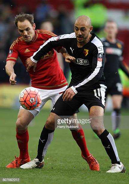 David Vaughan of Nottingham Forest and Nordin Amrabat of Watford in action during the Emirates FA Cup Fourth Round match between Nottingham Forest...