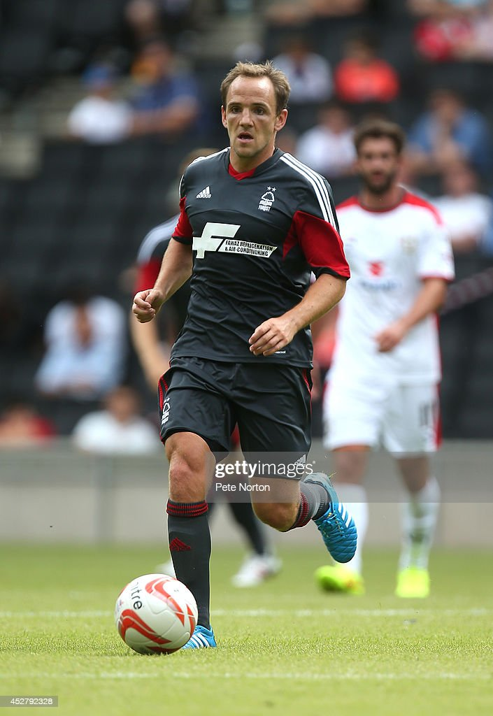 David Vaughan of Nottingham Forest in action during the Pre-Season Friendly match between MK Dons and Nottingham Forest at Stadium mk on July 27, 2014 in Milton Keynes, England.