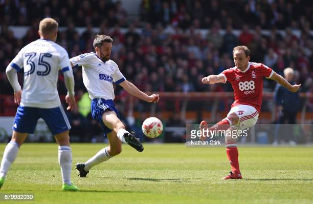 David Vaughan of Nottingham Forest shoots during the Sky Bet Championship match between Nottingham Forest and Ipswich Town at City Ground on May 7...