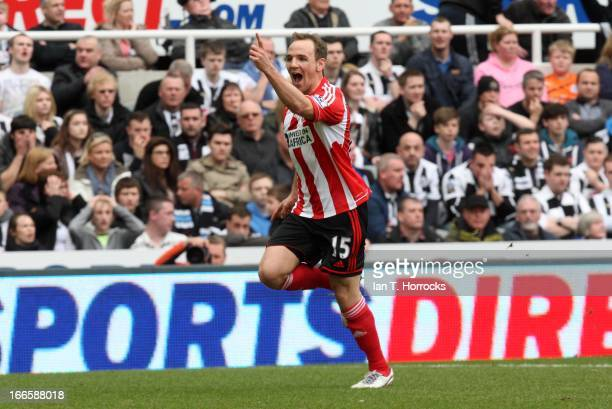 David Vaughan of Sunderland celebrates after scoring their third goal during the Barclays Premier League match between Newcastle United and...