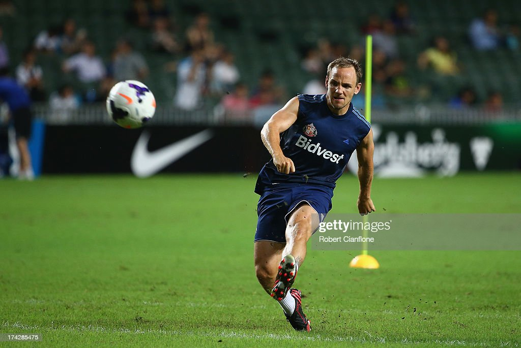 David Vaughan of Sunderland kicks the ball during a Sunderland Barclays Asia Trophy training session at Hong Kong Stadium on July 23, 2013 in So Kon Po, Hong Kong.