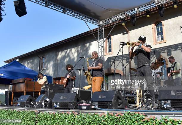 David Veith, Karl Denson, and Chris Littlefield of Karl Denson's Tiny Universe perform at Charles Krug Winery on June 19, 2021 in St Helena,...