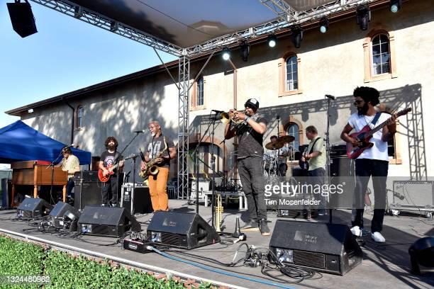 David Veith, Karl Denson, Chris Littlefield, and Brian Jordan of Karl Denson's Tiny Universe perform at Charles Krug Winery on June 19, 2021 in St...