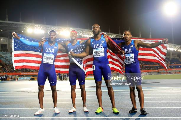 David Verburg Tony McQuay Kyle Clemons and LaShawn Merritt of the USA celebrate after placing first in the Men's 4x400 Metres Relay Final during the...