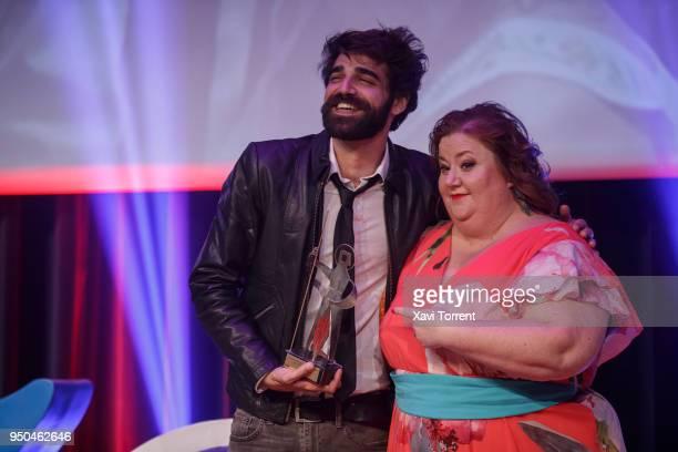 David Verdaguer receives the Sant Jordi Cinematrography award from the hands of Itziar Castro on April 23 2018 in Barcelona Spain