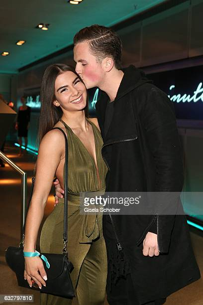David Vicedomini son of Lara Joy Koerner and his girlfriend Estelle during the 'A New York Minute' party hosted by Tiffany Co at BMW World on January...