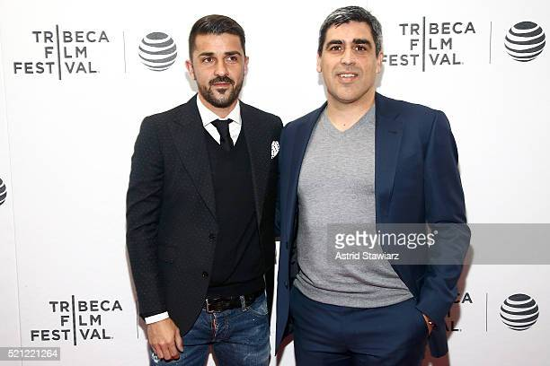 David Villa and Claudio Reyna attend the Win Premiere during 2016 Tribeca Film Festival at Regal Battery Park Cinemas on April 14 2016 in New York...
