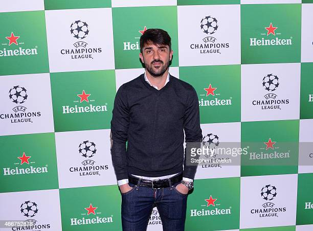 David Villa attends the VIP launch party for the UEFA Champions League Trophy Tour Presented by Heineken at Skylight Modern on March 18 2015 in New...