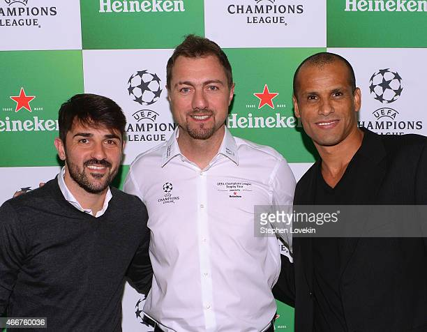 David Villa Jerzy Dudek and Rivaldo attend the VIP launch party for the UEFA Champions League Trophy Tour Presented by Heineken at Skylight Modern on...