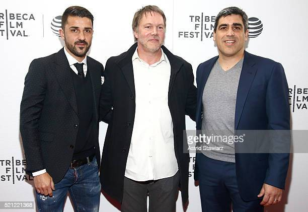 David Villa Justin Webster and Claudio Reyna attend the Win Premiere during 2016 Tribeca Film Festival at Regal Battery Park Cinemas on April 14 2016...