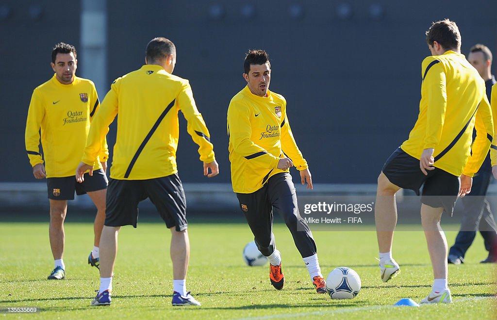 David Villa of Barcelona (centre) in action during the Barcelona training at Marinos Town on December 12, 2011 in Yokohama, Japan.