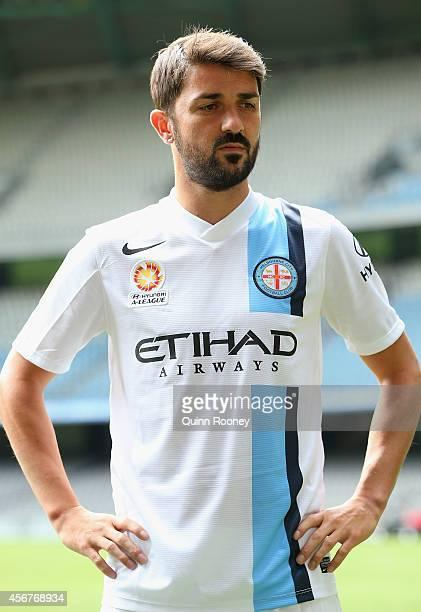David Villa of City poses during the A-League 2014-15 Season launch at Etihad Stadium on October 7, 2014 in Melbourne, Australia.