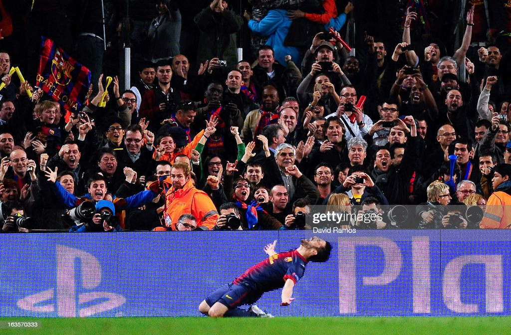 David Villa of FC Barcelona celebrates after scoring his team's third goal during the UEFA Champions League round of 16 second leg match between FC Barcelona and AC Milan at the Camp Nou Stadium on March 12, 2013 in Barcelona, Spain.