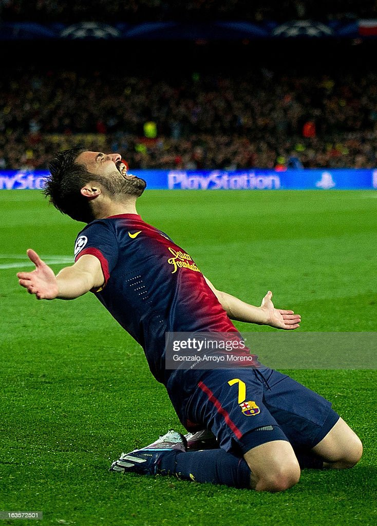 David Villa of FC Barcelona celebrates scoring their third goal during the UEFA Champions League Round of 16 second leg match between FC Barcelona and AC Milan at Camp Nou Stadium on March 12, 2013 in Barcelona, Spain.