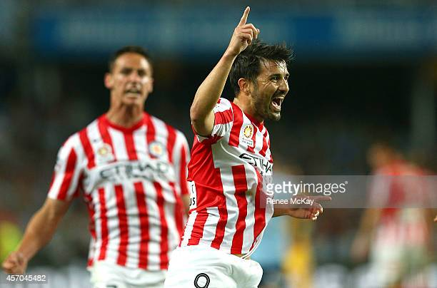 David Villa of Melbourne City celebrates a goal during the round one A-League match between Sydney FC and Melbourne City at Allianz Stadium on...