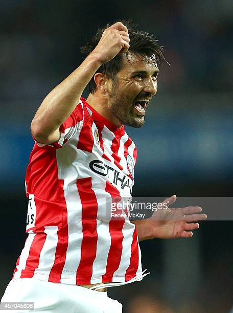 David Villa of Melbourne City celebrates his goal during the round one ALeague match between Sydney FC and Melbourne City at Allianz Stadium on...